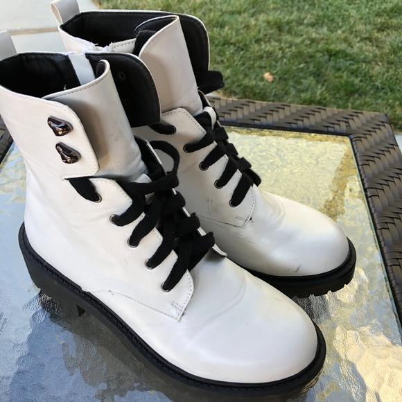 Madden Girl White Combat Boots